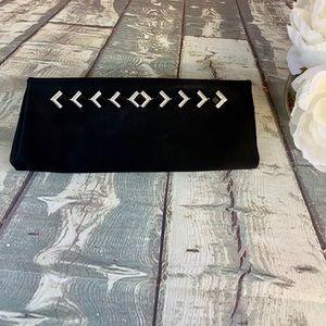 Kate Landry Black Satin Embellished Evening Clutch